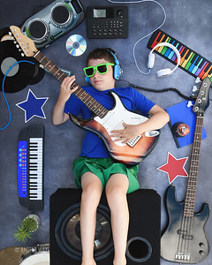 Rock Star Boy Playing Musical Instrument Guitar