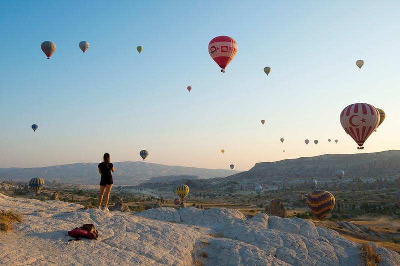 Sky full of balloons in Cappadocia