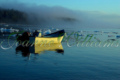 lake; water; alaska; ice; snow; boat; fog;