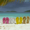 0020 flip flops on a tropical beach in the Caribbean, St John