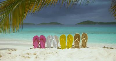0020 flip flops on a tropical beach in the Caribbean, St John
