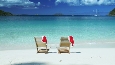 0008 Christmas teak chairs on a tropical beach in the Caribbean