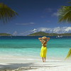 woman standing on tropical beach in the caribbean, St John