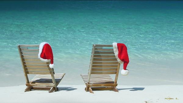 0009 Christmas teak chairs on a tropical beach in the Caribbean