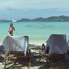 0051 video of women walking to lounge chairs on a tropical beach, smuggler's cove, tortola
