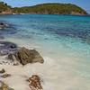 panning tropical beach, little hawksnest, st john