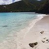panning video of tropical shoreline, little hawksnest, St John