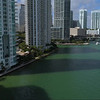 Drone aerial Miami River and Brickell