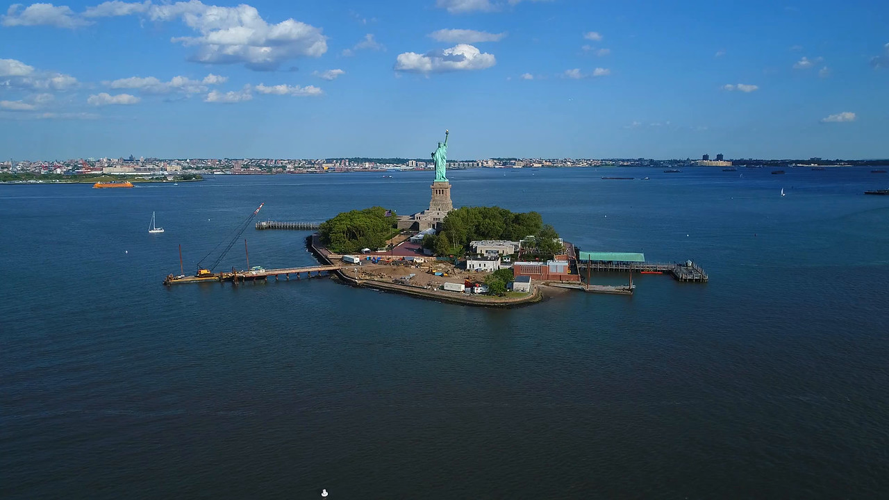 Drone Statue of Liberty footage 4k 60p prores