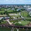 Aerial Richmond VA Browns Island Gambles Hill Park 4k