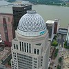 Aerial orbit Mercer Building downtown Louisville KY
