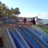 Surf boards and canoes on Waikiki Beach