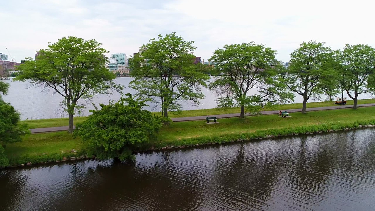 Aerial Boston Nature scene 4k 60p