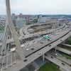 Aerial tour Boston Massachusetts Zakim Bridge 4k 60p drone