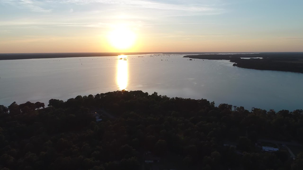 Aerial video sunset over Lake Marion South Carolina 4k