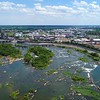 Aerial video water flowing in the James River Richmond VA
