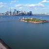Aerial video Liberty State Park panning to Ellis Island 4k 60p