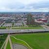 Aerial reveal Louisville Slugger Stadium KY 4k