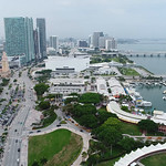 Aerial drone Downtown Miami American Airlines Arena Bayside