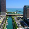 Aerial reveal North Lake Shore Drive Chicago