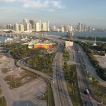 Aerial video of Watson Island with view of Edgewater Miami
