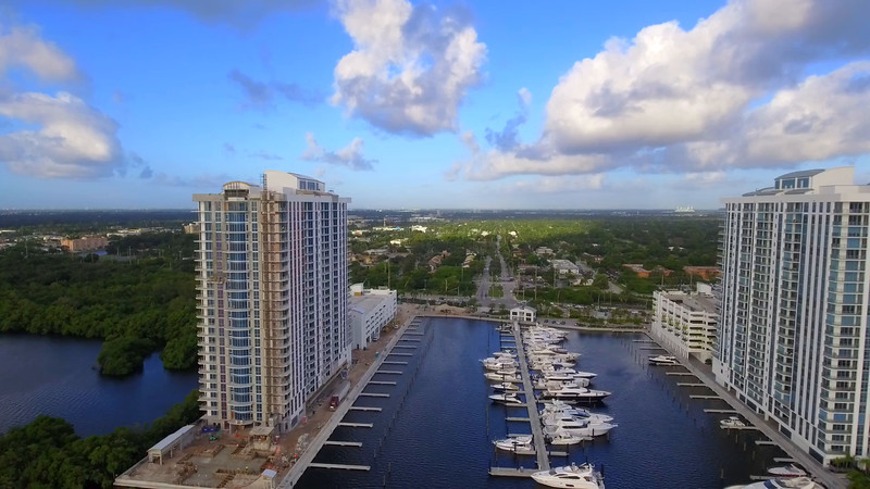 Aerial buildings on Biscayne Bay Miami