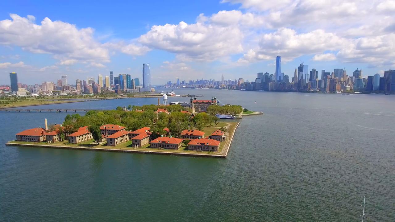 Aerial video of Ellis Island NY
