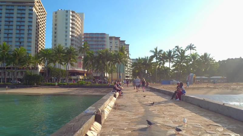 Waikiki Wall beach scene