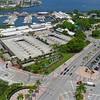 Aerial stock footage Bayside Marketplace Miami 4k 24p
