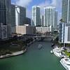 Aerial video Miami River and Brickell Bridge