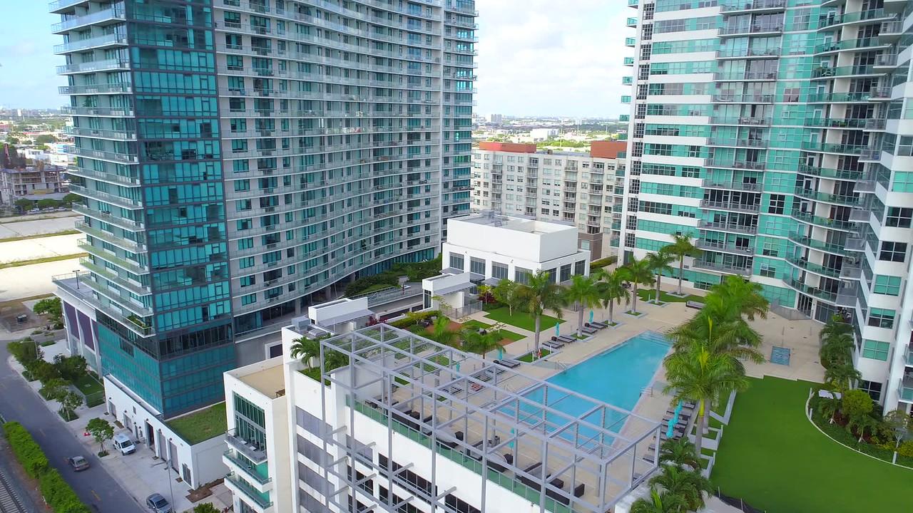 Aerial panorama Midtown buildings Miami