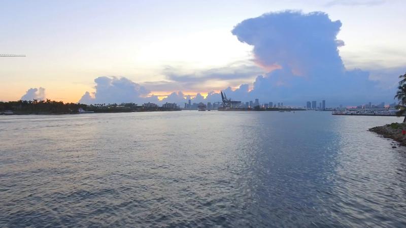 Amazing Miami Beach aerial at dusk