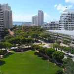 Aerial tour Brickell Key Miami FL, USA