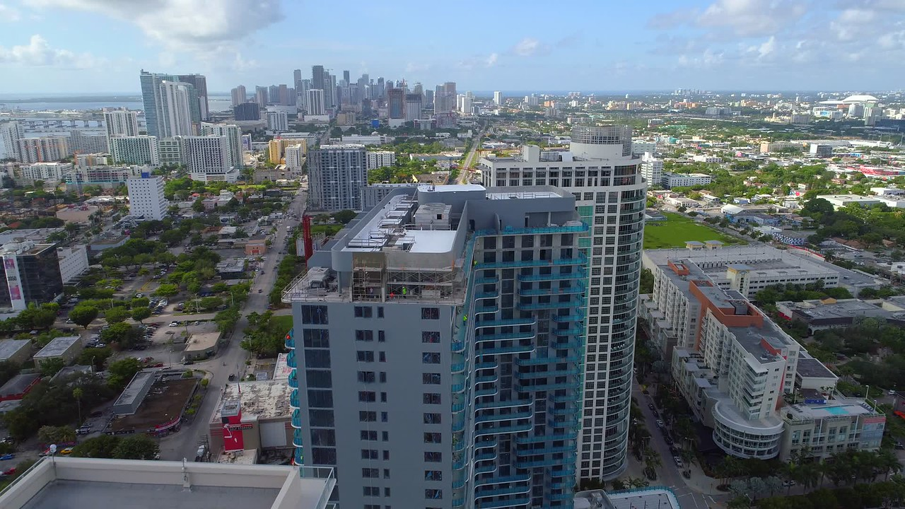 Midtown Towers Miami rooftop drone flyover inspection