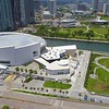 Aerial footage AA Arena orbiting around architecture