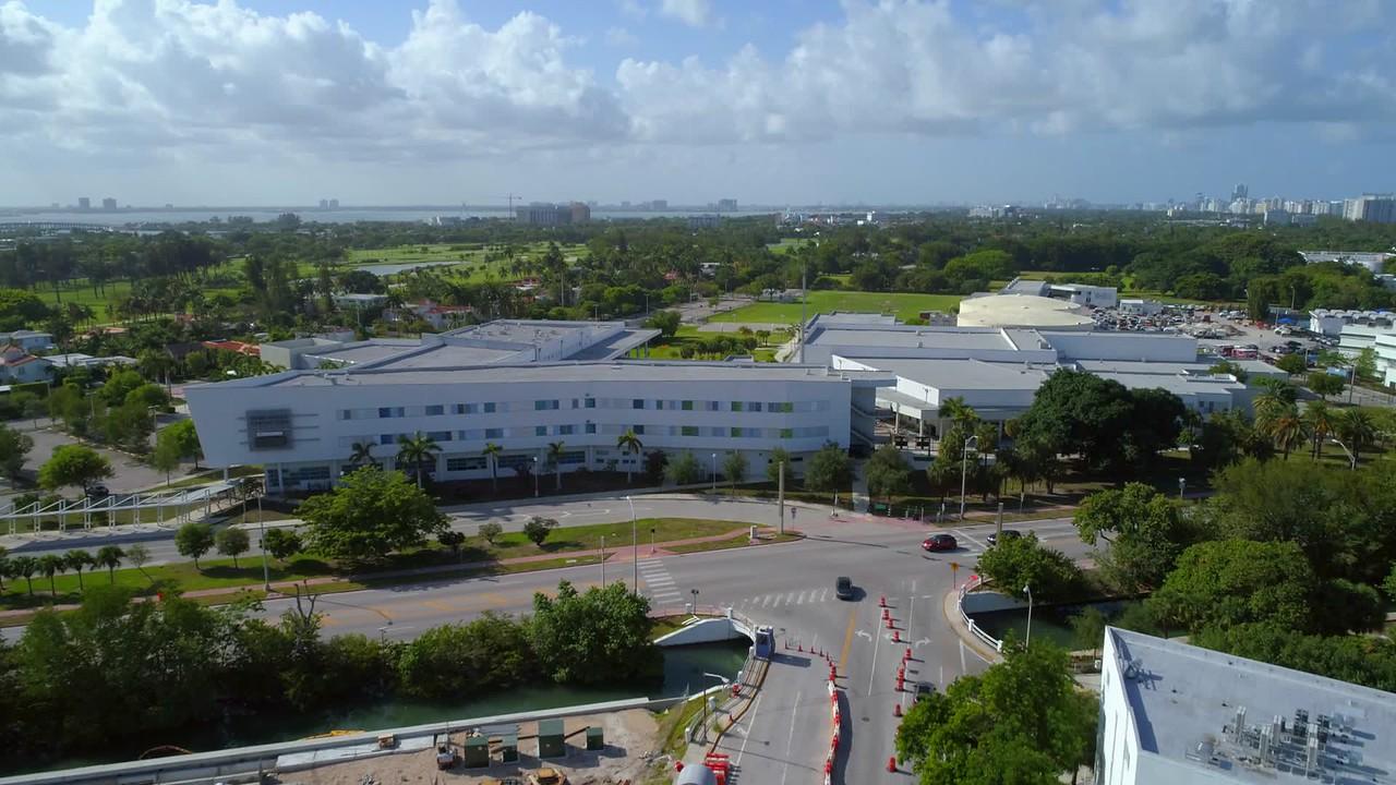 Stock aerial video Miami Beach Senior high School 4k 60p