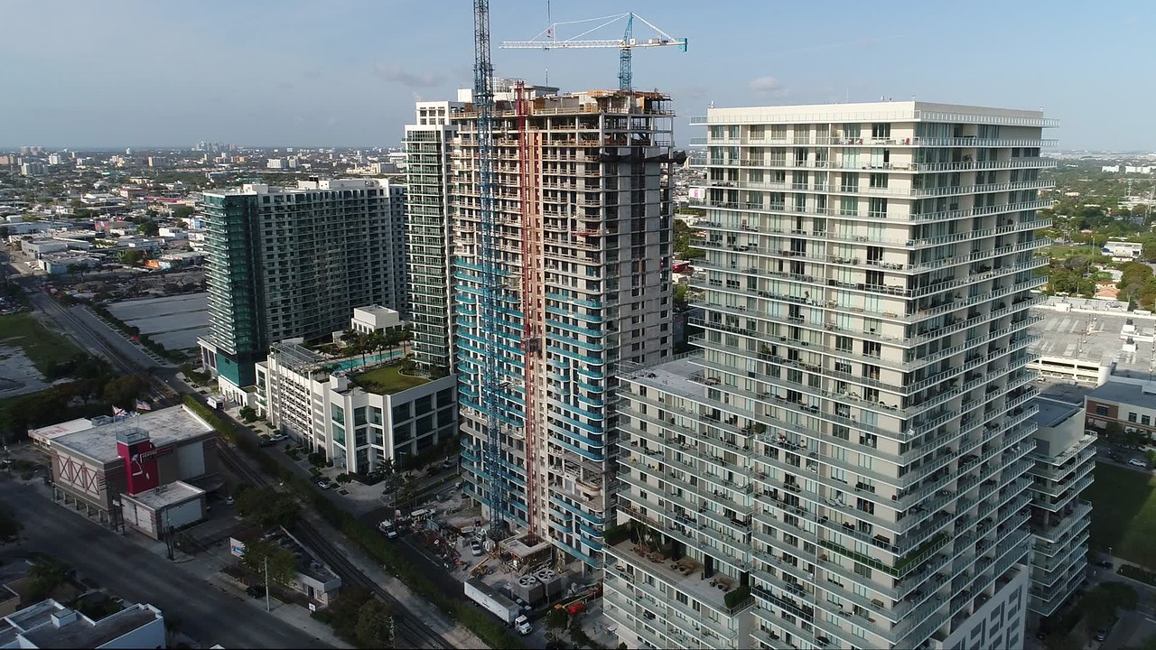 Aerial drone video Midtown Miami