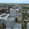 Circling around buildings aerial video