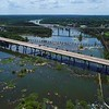 Aerial establishing shot video Virginia Richmond James River drone 4k