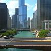 Aerial Chicago River and bridges