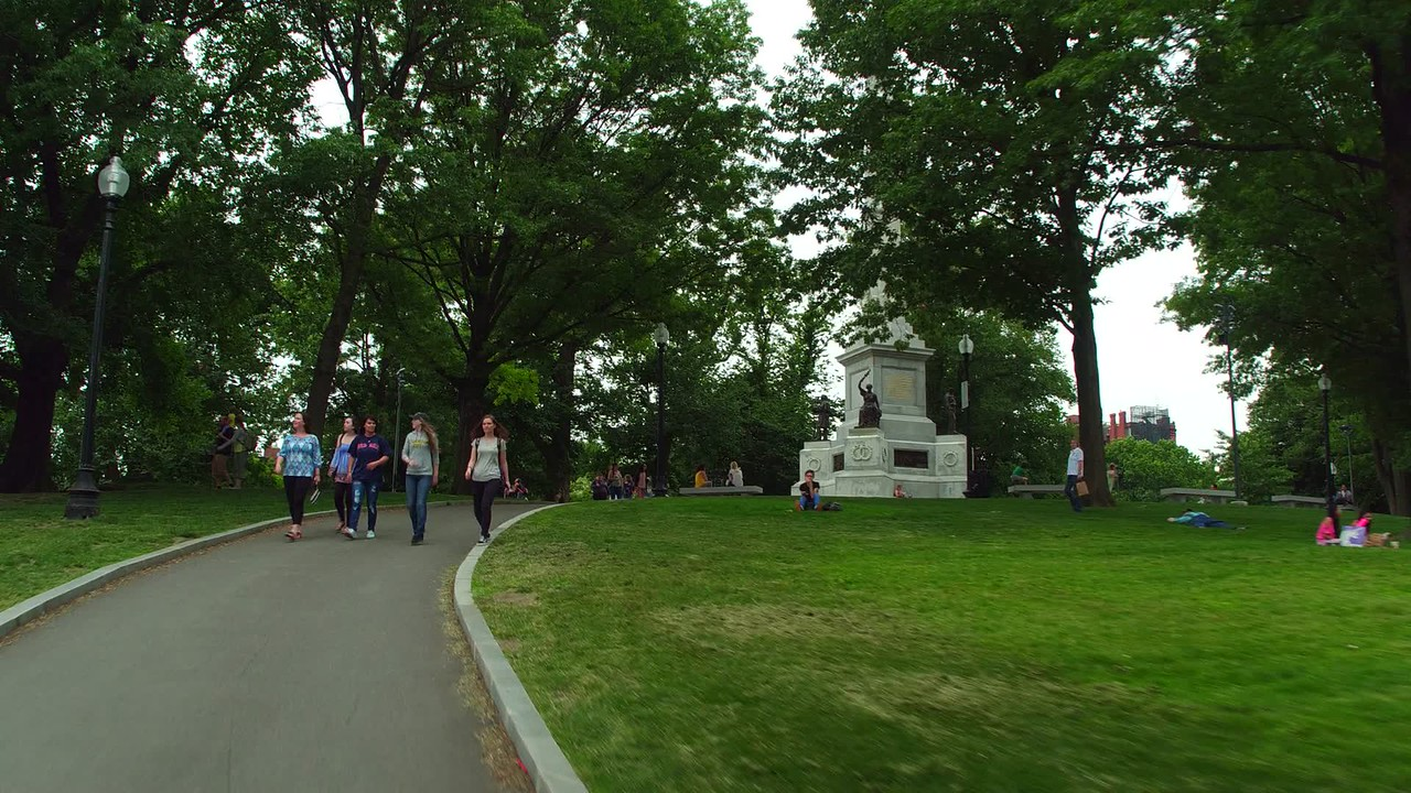 Soldiers and Sailors Monument Boston Common motion video 4k