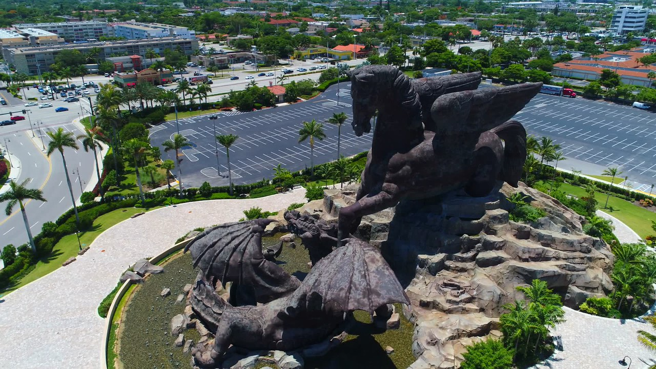Aerial footage Pegasus vs Dragon statue Hallandale FL USA
