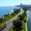Aerial drone shot Lake View Drive Chicago