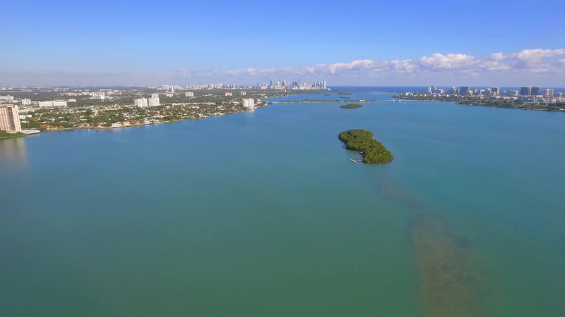 Hyperlapse aerial drone video Miami Biscayne Bay