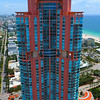 Aerial video of a pink highrise building in Miami Beach 4k 60p