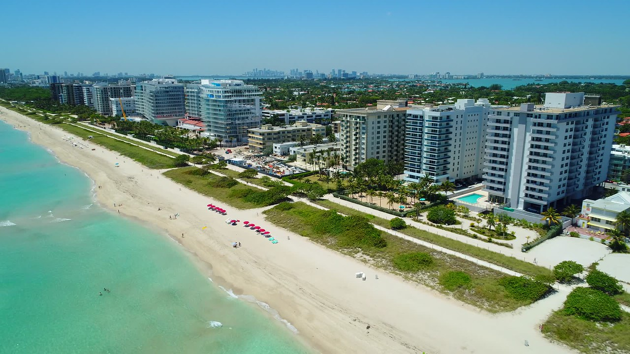 Aerial video Four Seasons Hotel at The Surf Club, Surfside, Florida