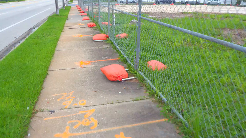 Orange sand bags for storm