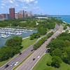 Aerial drone video Diversey Parkway Chicago