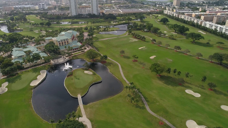 Aerial video Golf course club house Hallandale FL