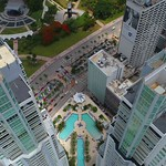 Vizcayne Miami swimming pool aerial video
